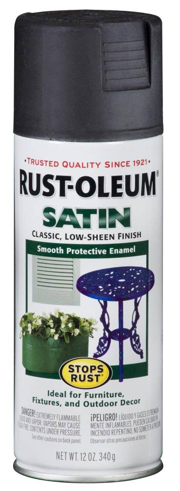 Rust-Oleum Satin Spray Paint - Black, 340g