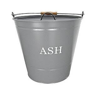 Traditional Metal Ash Storage Bucket - with Wooden Handle, Grey