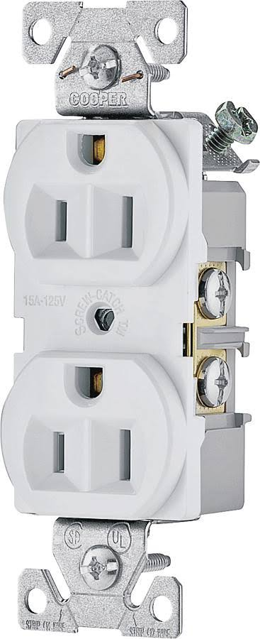 Cooper Wiring Devices Duplex Receptacle - White, 15 Amp, 125V