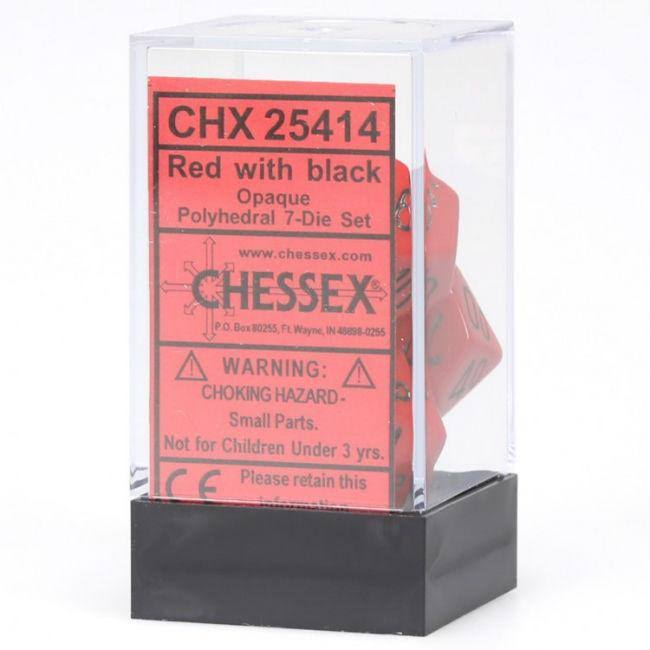 Chessex Polyhedral 7 Dice Set Opaque Red Black