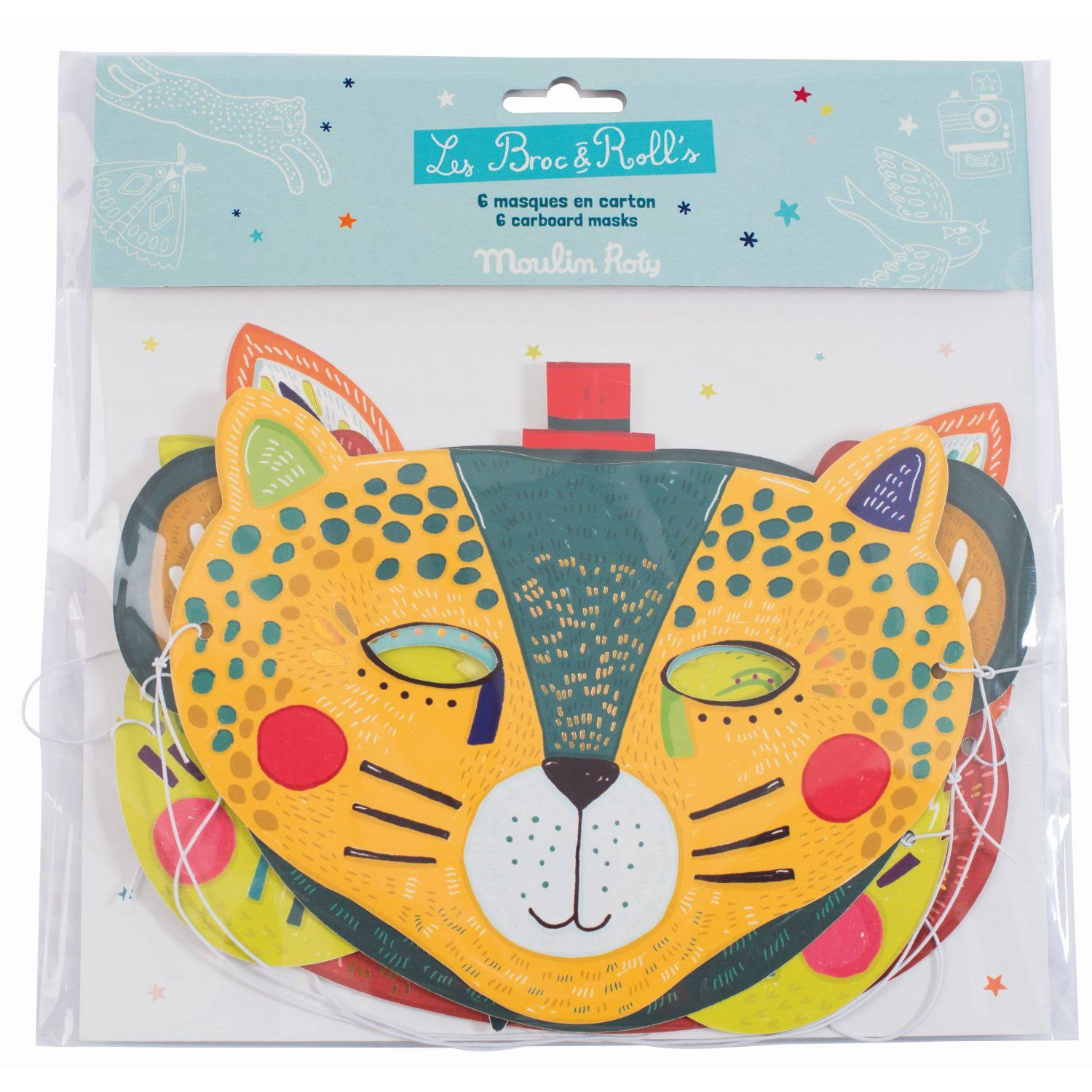 Moulin Roty Boys Animal Card Mask Set - 6pk