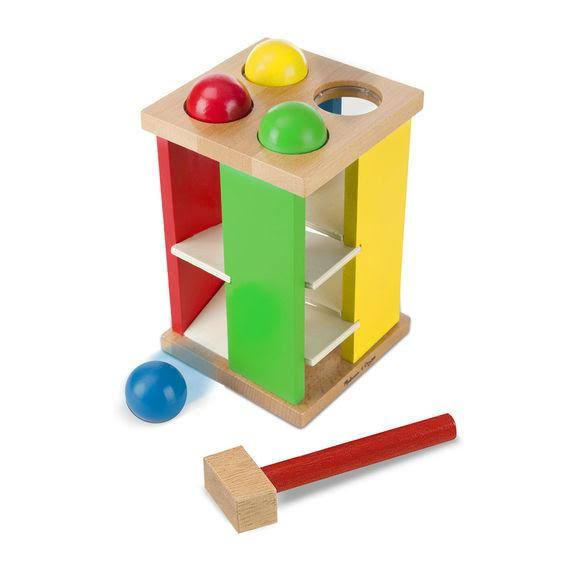 Deluxe Pound And Roll Wooden Tower Toy With Hammer