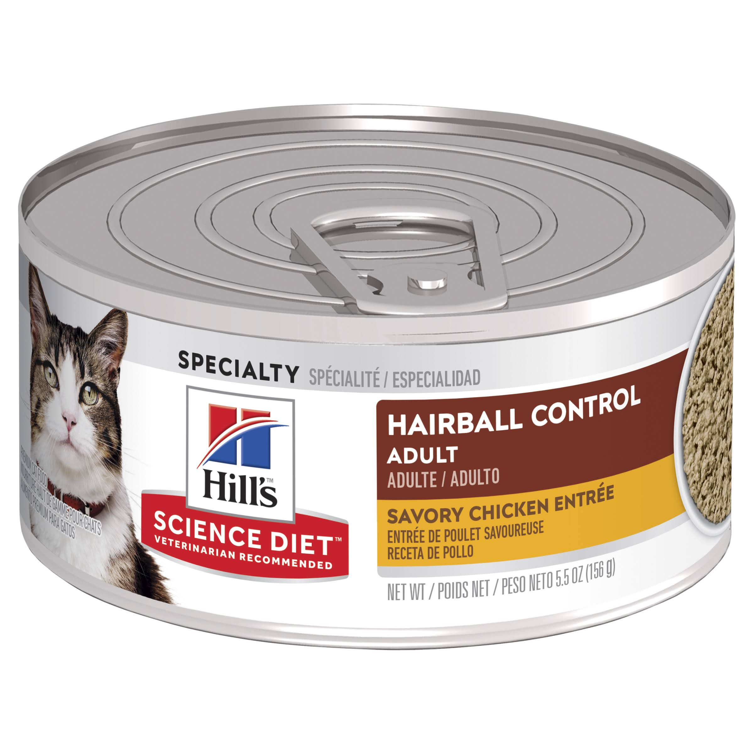 Hill's Science Diet Hairball Control Minced Cat Food - Savory Chicken Entrée, 156g