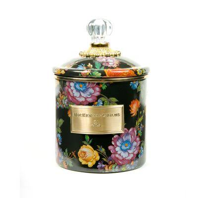 MacKenzie-Childs - Flower Market Enamel Canister - Black - Small