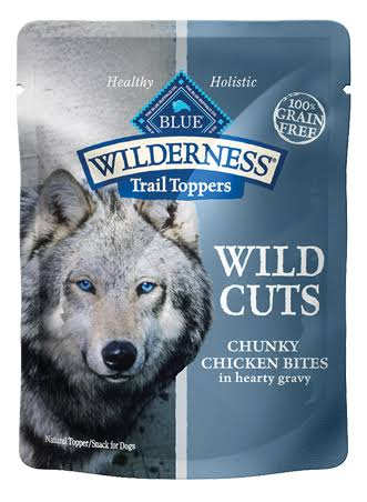 Blue Buffalo Wilderness Wild Cuts Trail Toppers Chunky Dog Treats - Chunky Chicken Bites In Hearty Gravy, 3oz