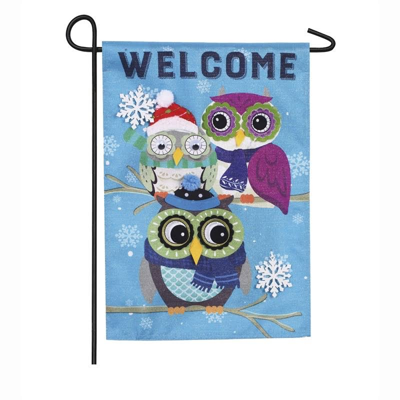Evergreen Winter Owls Garden Linen Flag