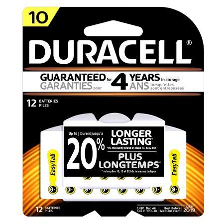 Duracell Easy Tab Hearing Aid Batteries - Size 10, 12pcs