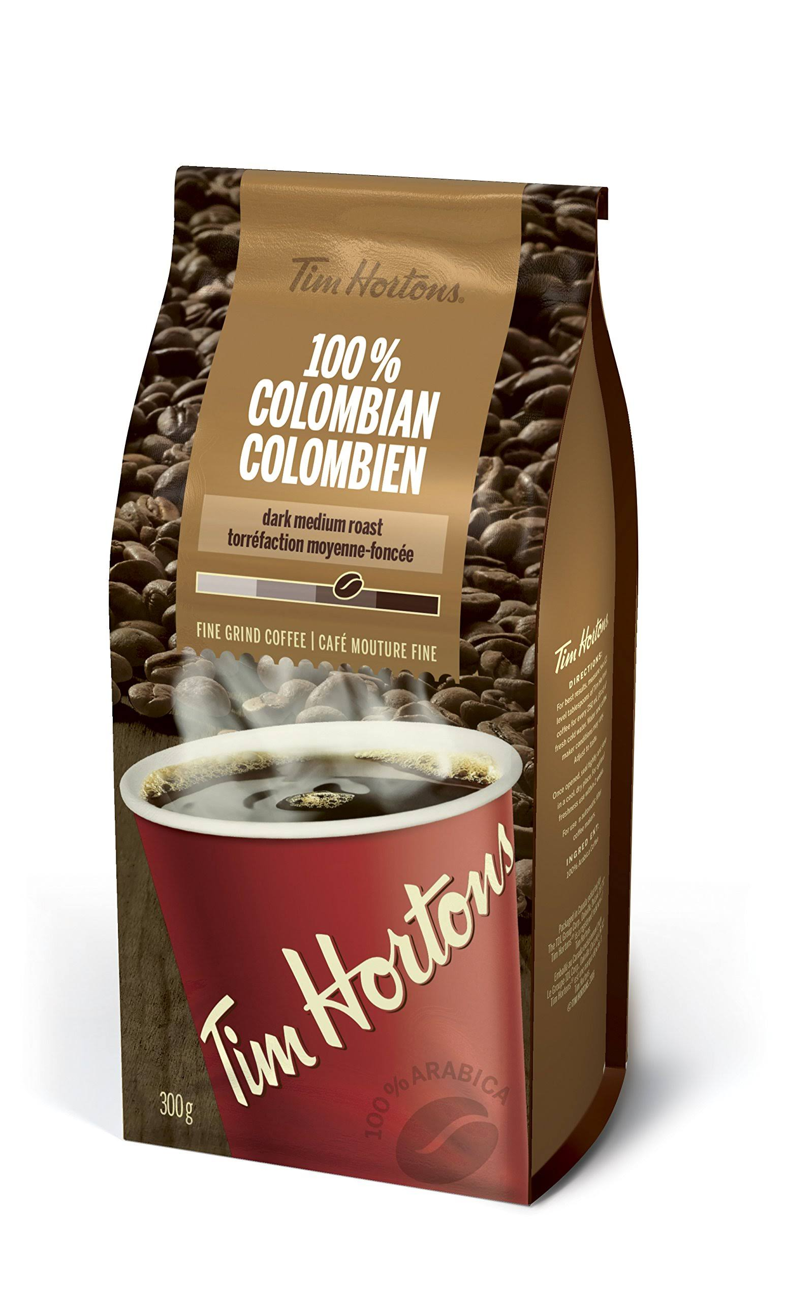 Tim Hortons 100 Colombian Dark Medium Roast Fine Grind Coffee 300g