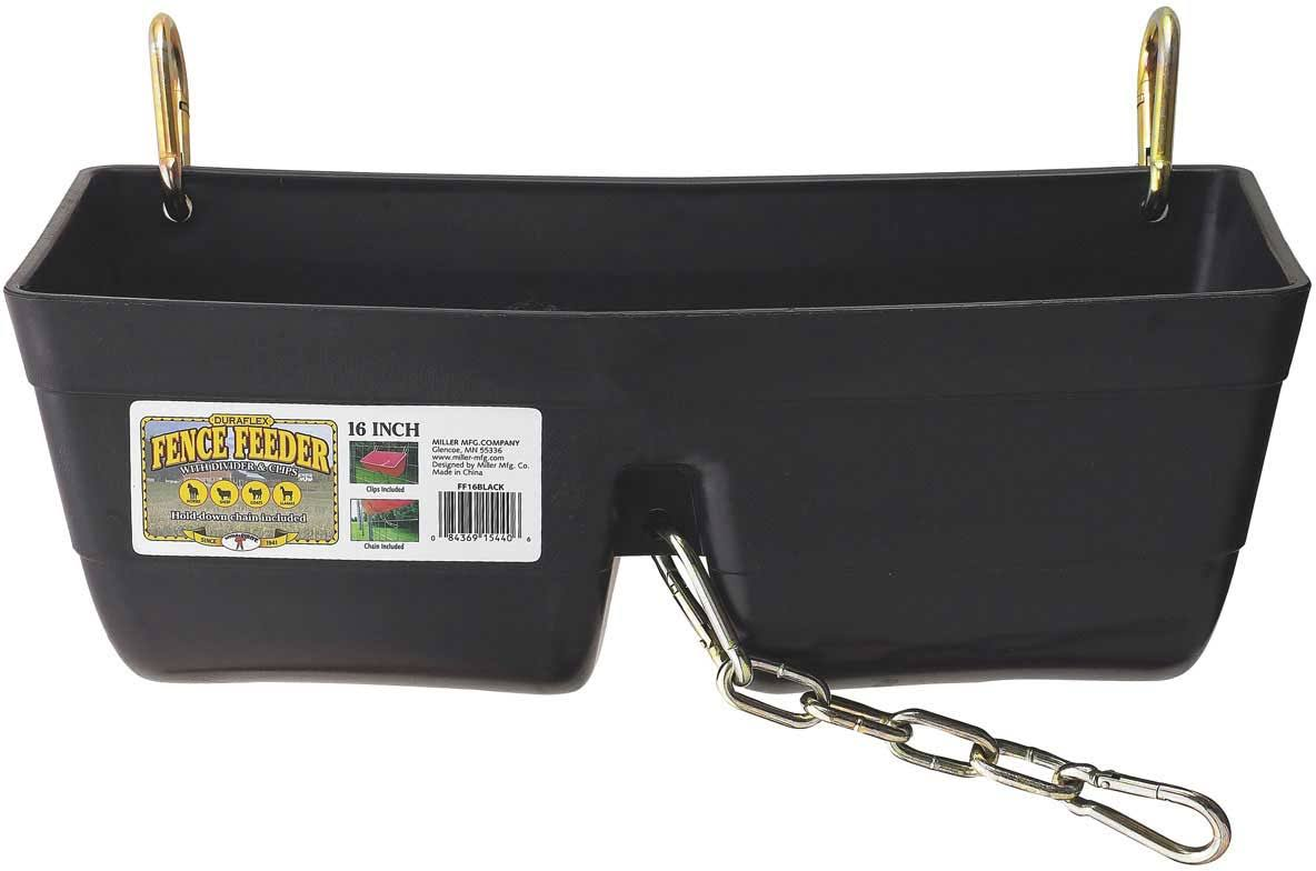 Little Giant Fence Feeder with Clips and Chain - Black