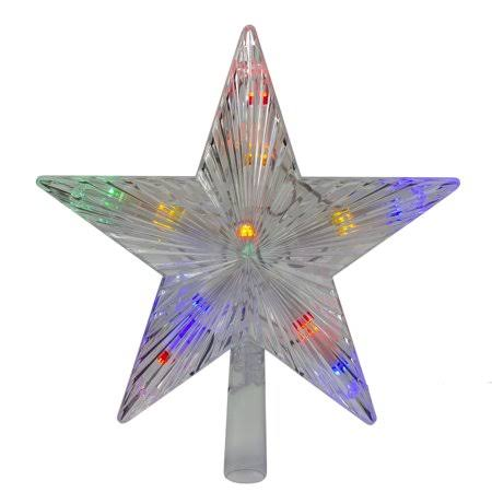 "Hofert 9.5"" Lighted LED Multi-colored Constant Wide Angle Lights Clear 5 Point Star Tree Topper"