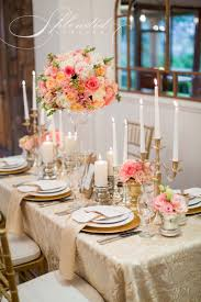 Coral Colored Decorative Items by Elegant Coral And Gold Wedding Reception Inspirations Flowers
