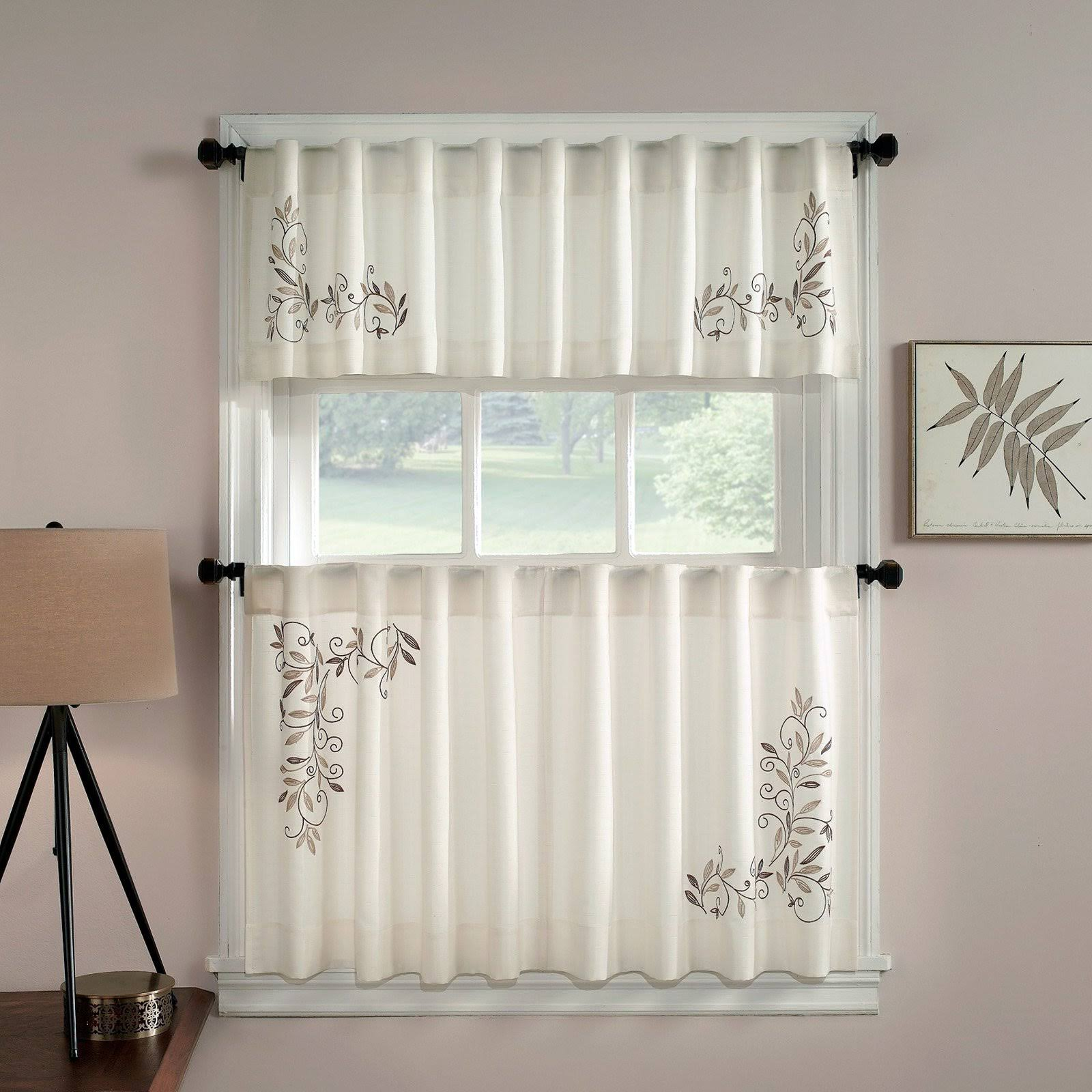 "CHF Scroll Leaf 24"" Window Curtain Tier Pair in Mocha"