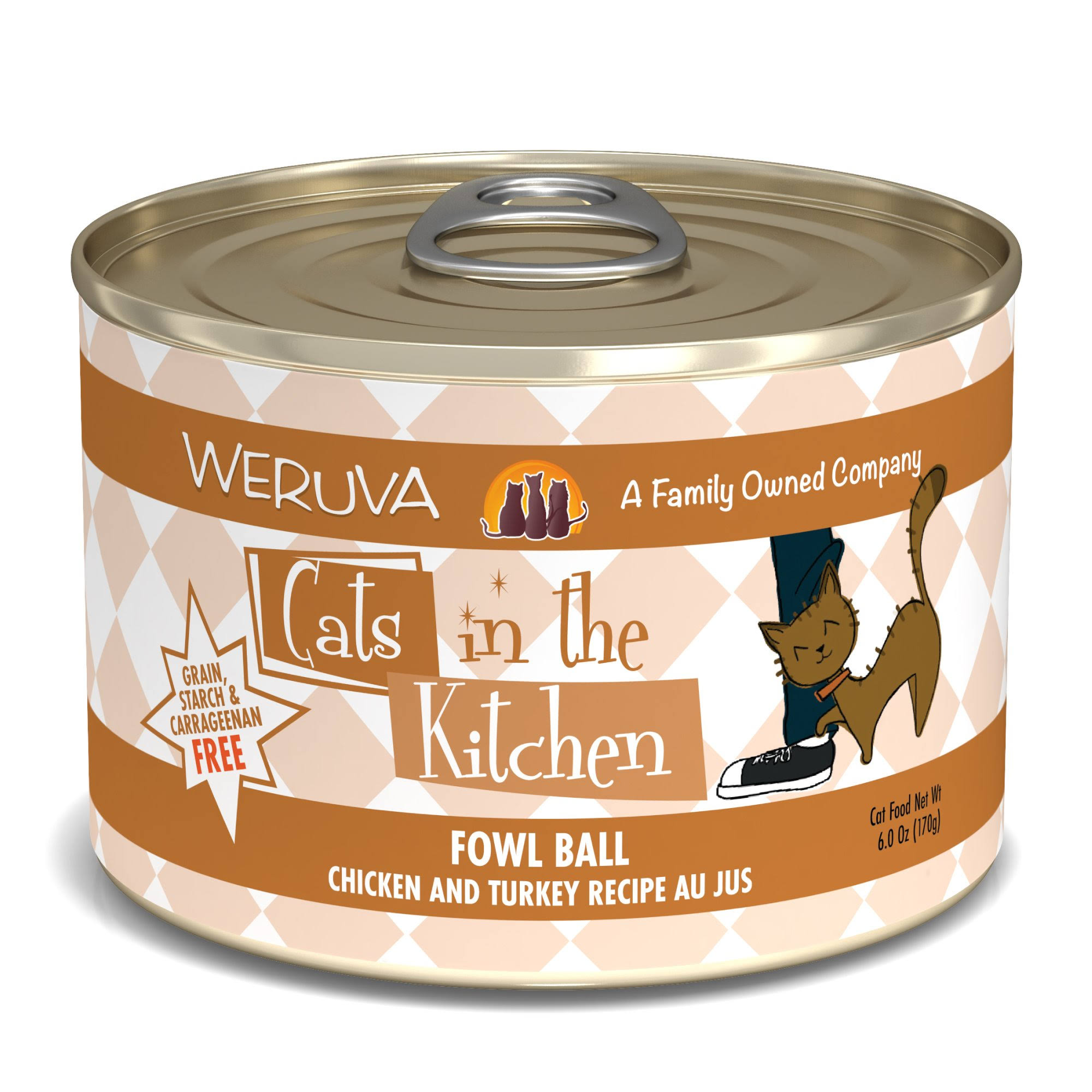 Weruva Cats in the Kitchen Fowl Ball Cat Food - Chicken and Turkey Au Jus, 6oz