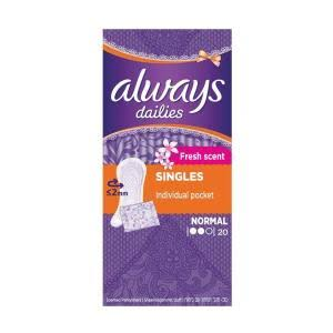 Always Dailies Fresh Singles Panty Liners - 20 Pack