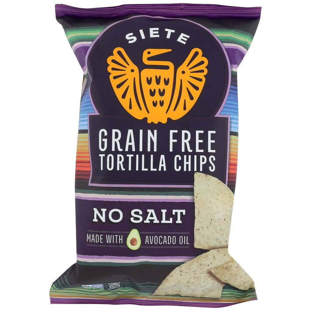 Siete Tortilla Chips, Grain Free, No Salt - 5 oz