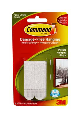 3M 17201 Picture Hanging Strips - White, Medium, 4 Strips