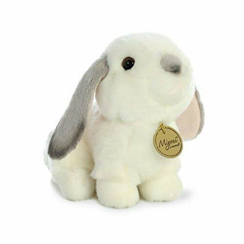 Aurora World Miyoni White Plush Lop Eared Rabbit with Grey Ears, Small