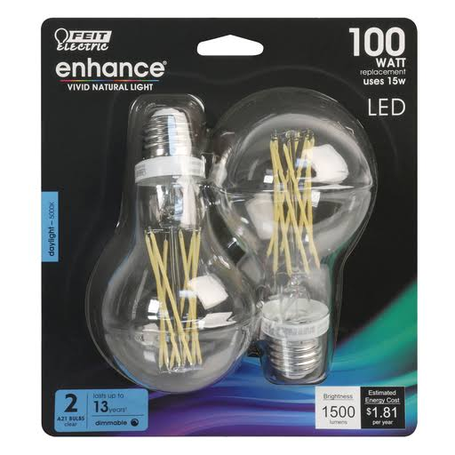 Feit A21 Dimmable Filament LED Light Bulb - 100W, 2pk