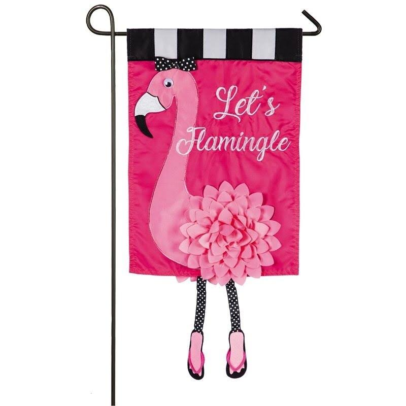 Evergreen Applique Garden Flag - Let's Flamingle