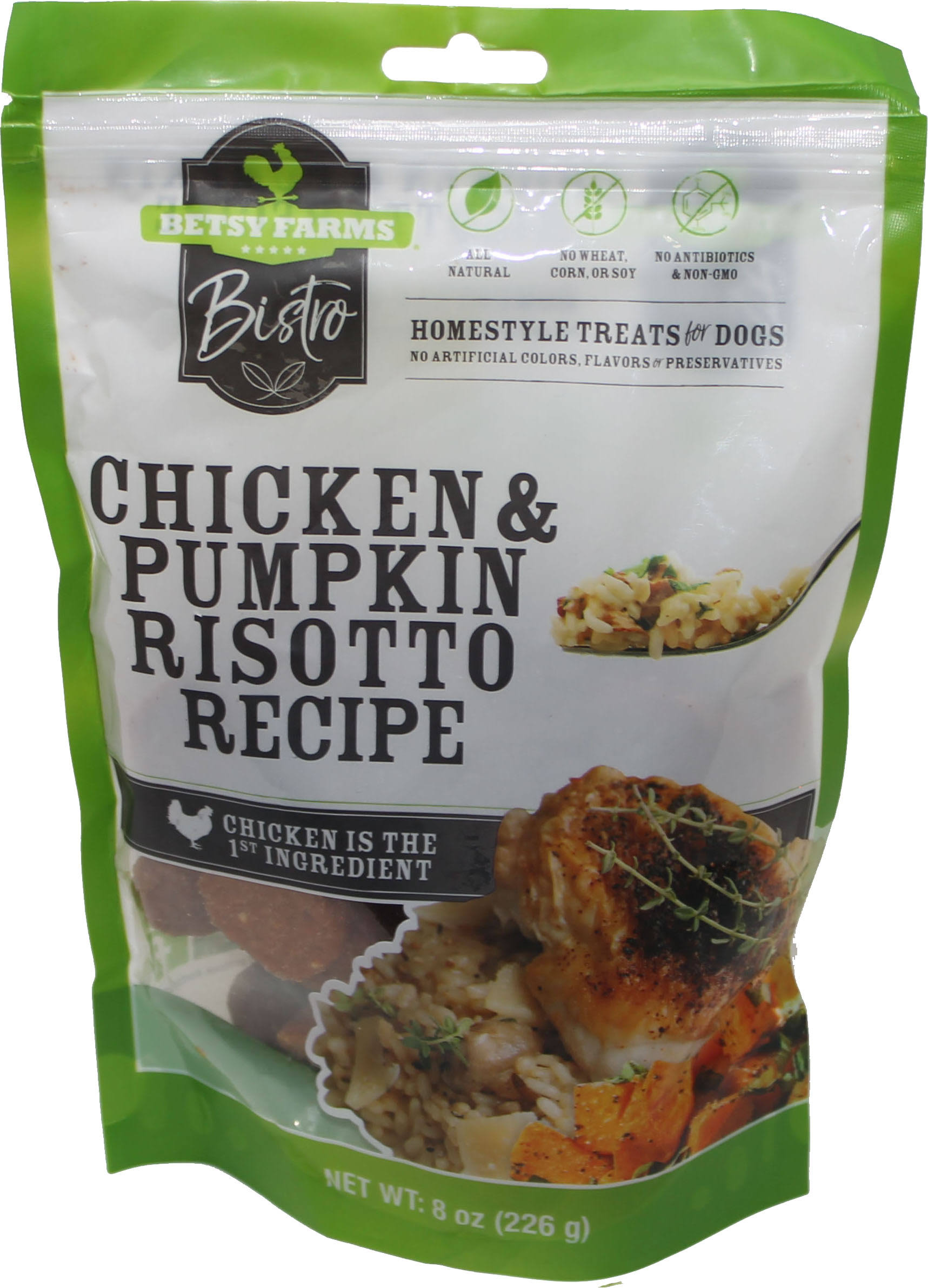 Betsy Farms Bistro Treats for Dogs, Chicken & Pumpkin Risotto Recipe - 8 oz