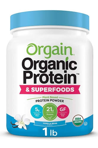 Orgain Organic Plant Based Protein + Superfoods Powder, Vanilla Bean 2.02 lb
