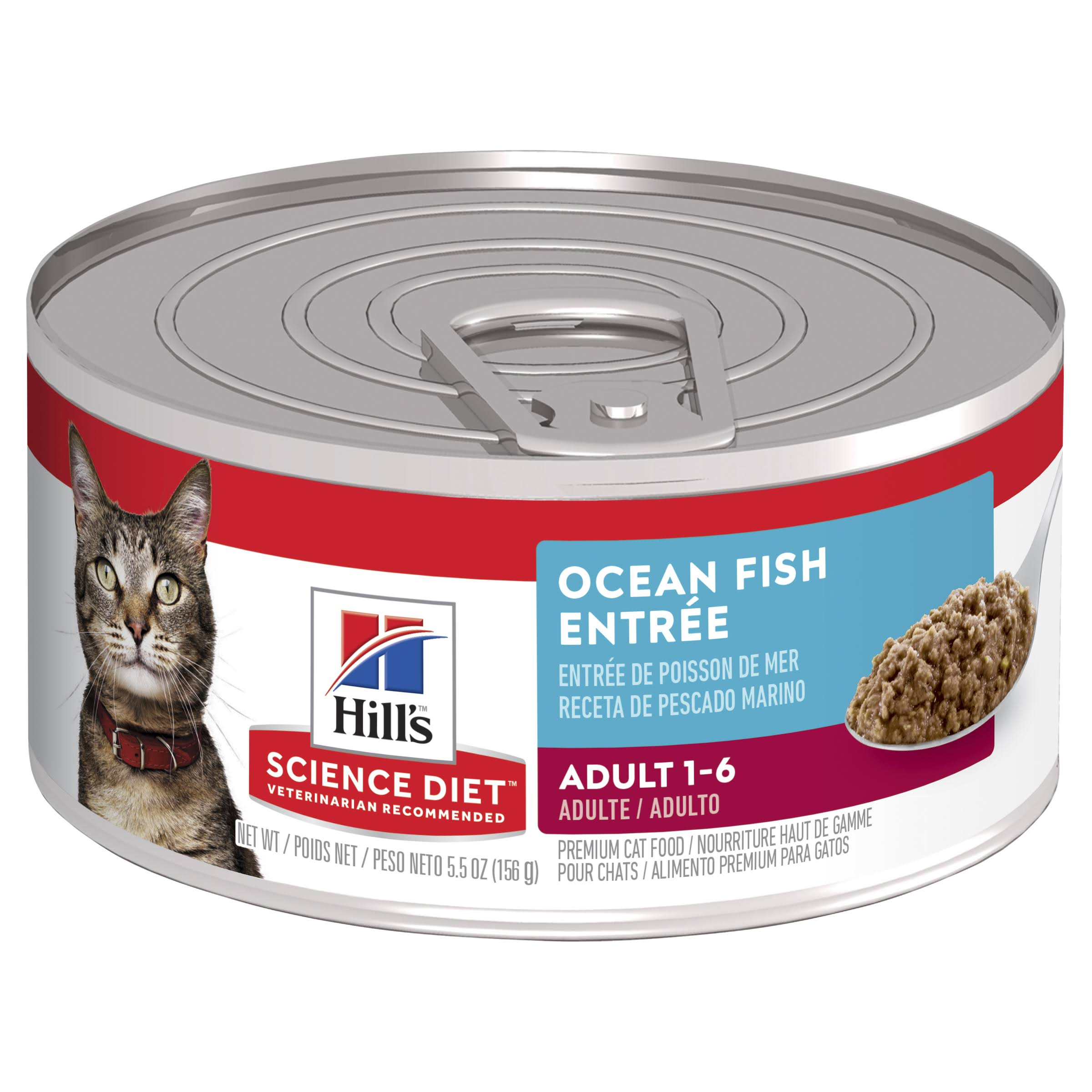 Hill's Science Diet Cat Food - Adult, Indoor Cat, Ocean Fish Entree, Minced