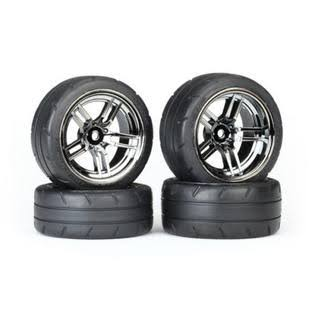 Traxxas Front/Rear Tires/Black Chrome Wheels Assembled TRA8375
