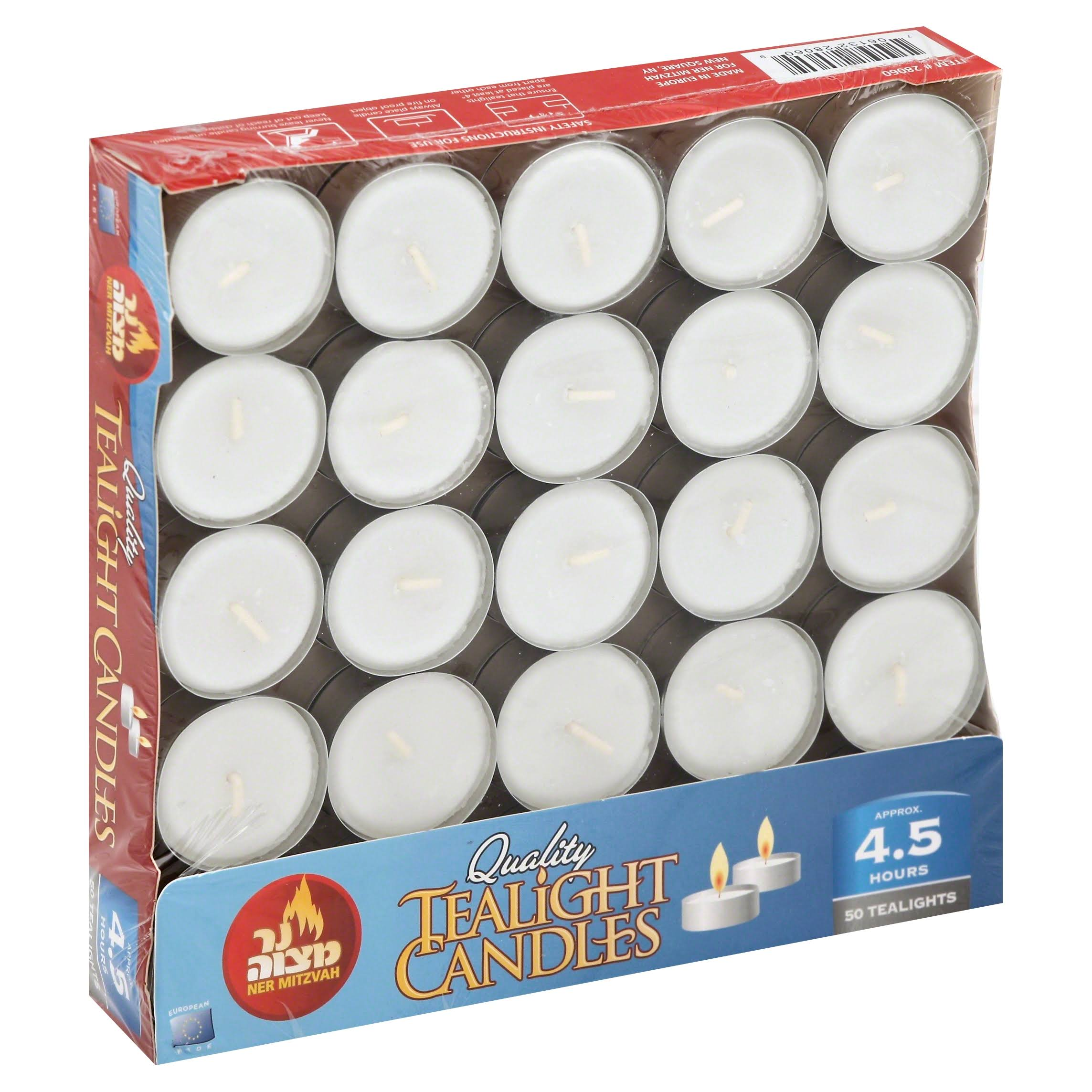 Ner Mitzvah Candles, Quality, Tealight - 50 candles
