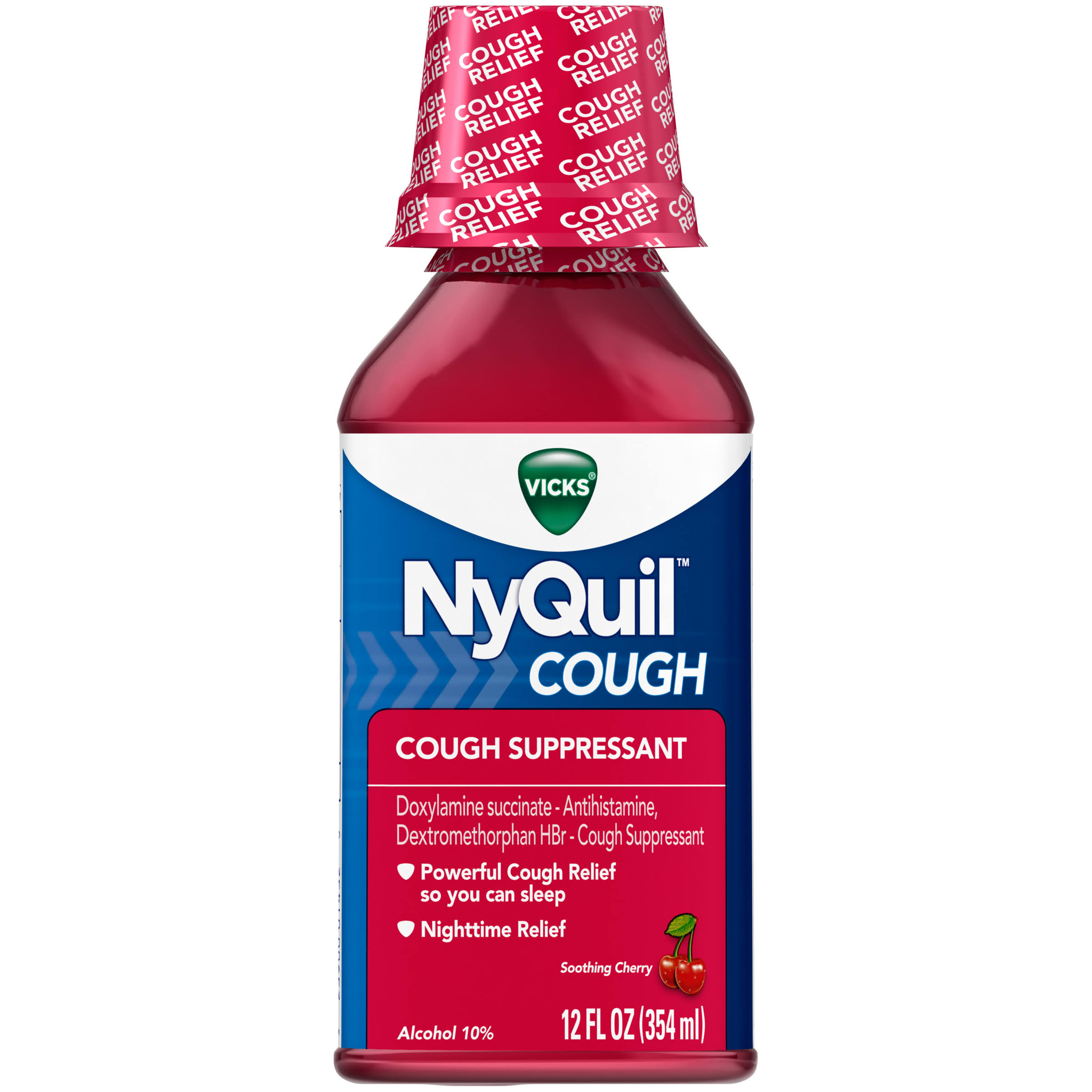 Vicks Nyquil Cough Nighttime Relief Liquid - Cherry Flavor, 12oz
