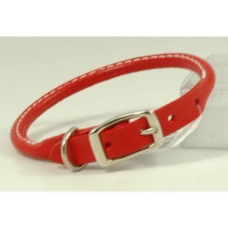 "Auburn Leather Rolled Round Dog Collar - Red, 0.63"" x 14"""