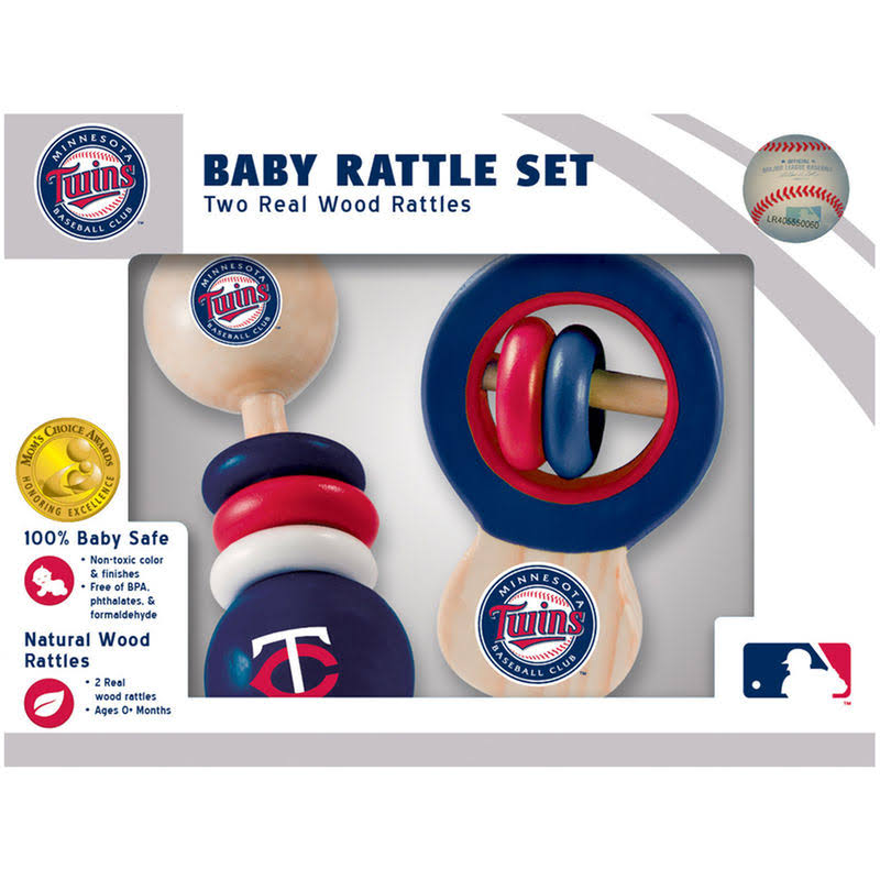 Masterpieces Minnesota Twins Real Wood Baby Rattles - 2pk