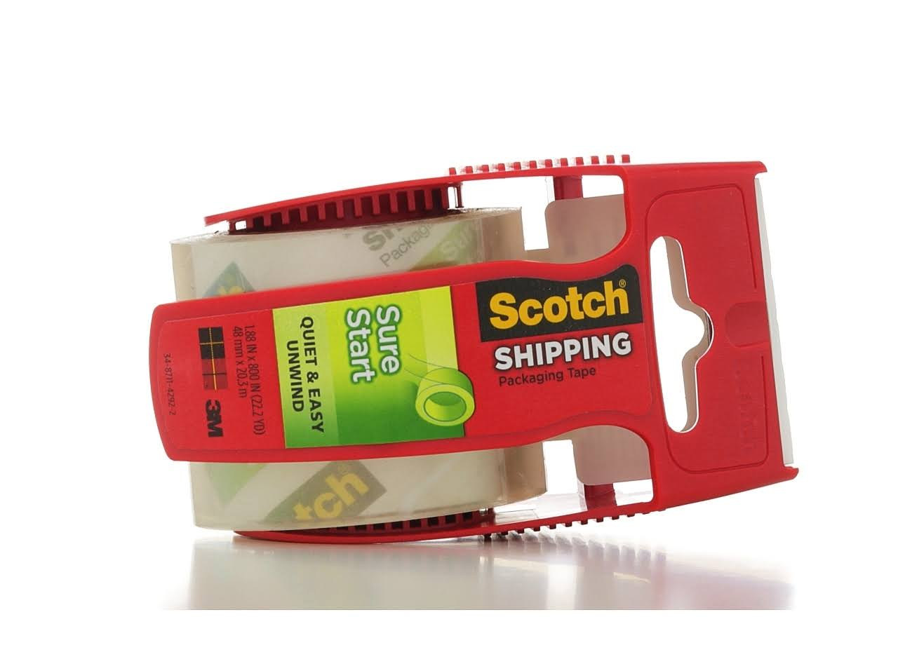"3M Scotch Sure Start Packaging Tape - Clear, 1.88"" x 22.2yds, 1 1/2"" Core"