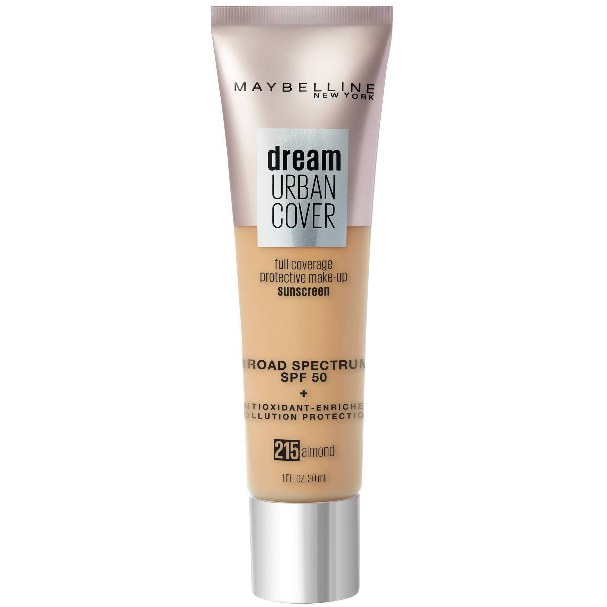 Maybelline Dream Urban Cover Flawless Coverage Foundation - SPF 50, Almond, 1oz