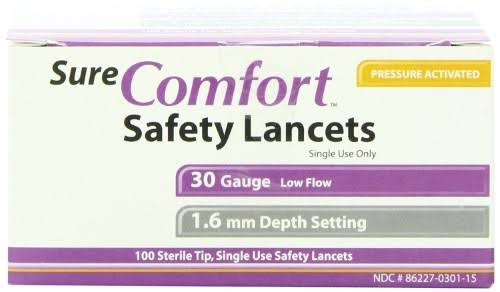 Sure Comfort Safety Lancet, 30 g, 100 Count