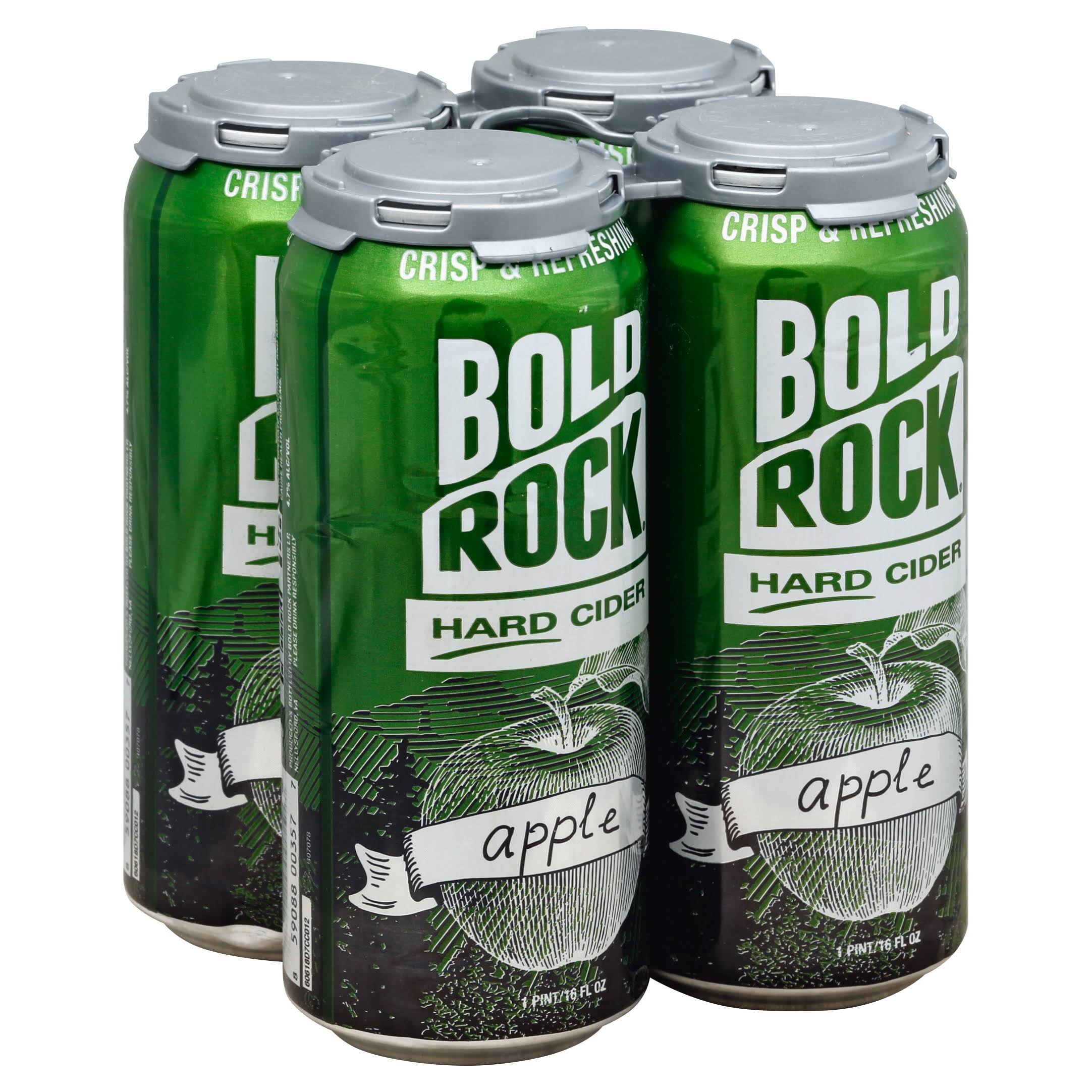 Bold Rock Hard Cider, Apple - 4 - 1 pint/16 fl oz