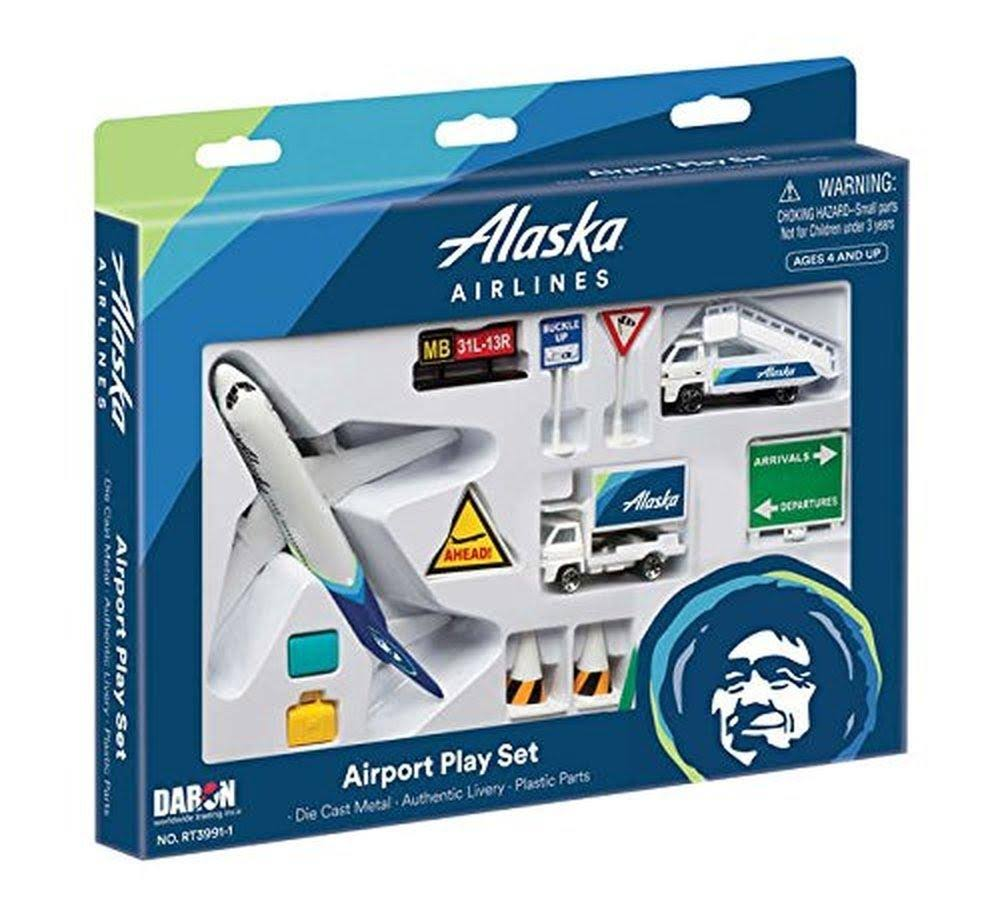 Daron Worldwide Trading RT3991 Airport Play Set - Alaska Airlines, 12pcs