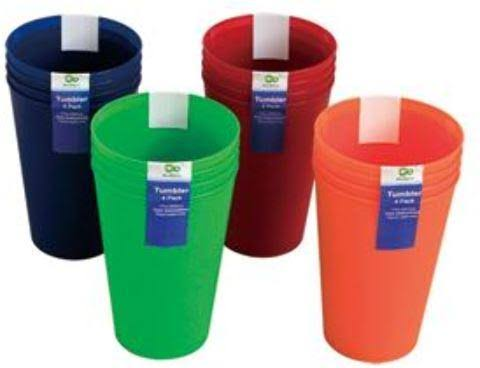 DD Set of 4 Plastic Tumblers - 14 oz. Case Pack 48