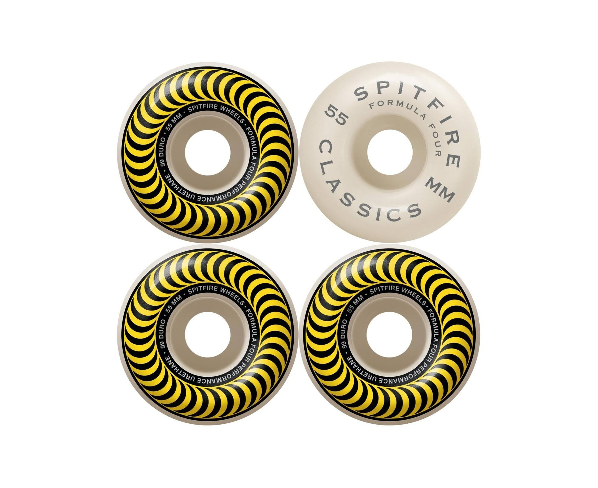 Spitfire Skateboard Wheels Formula Four - Yellow , 55mm