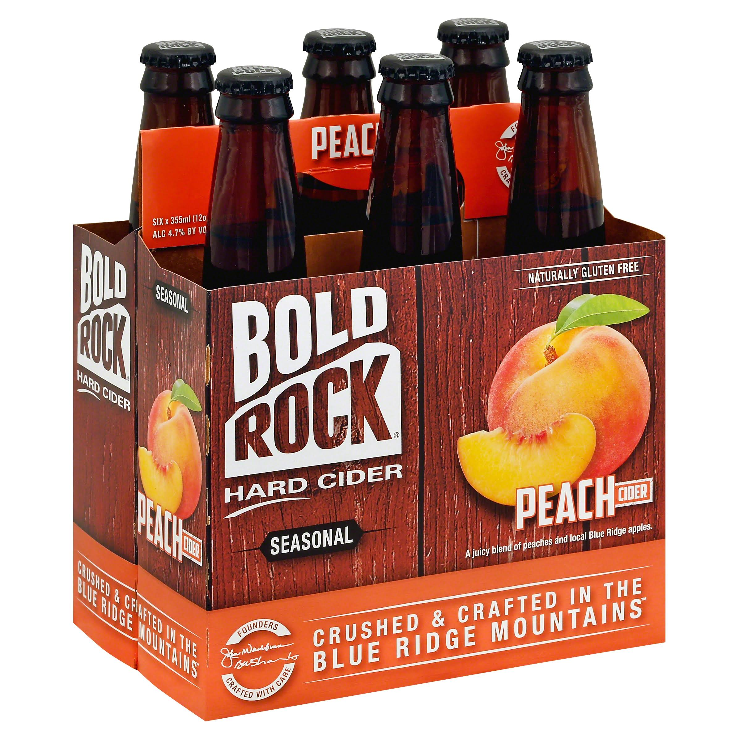 Bold Rock Hard Cider, Peach - 6 pack, 12 oz bottles