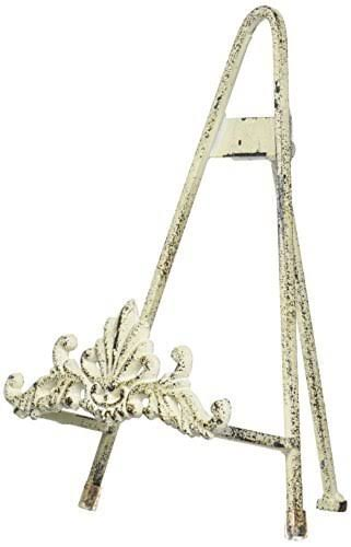 "Tripar 9"" Distressed White Metal Easel"