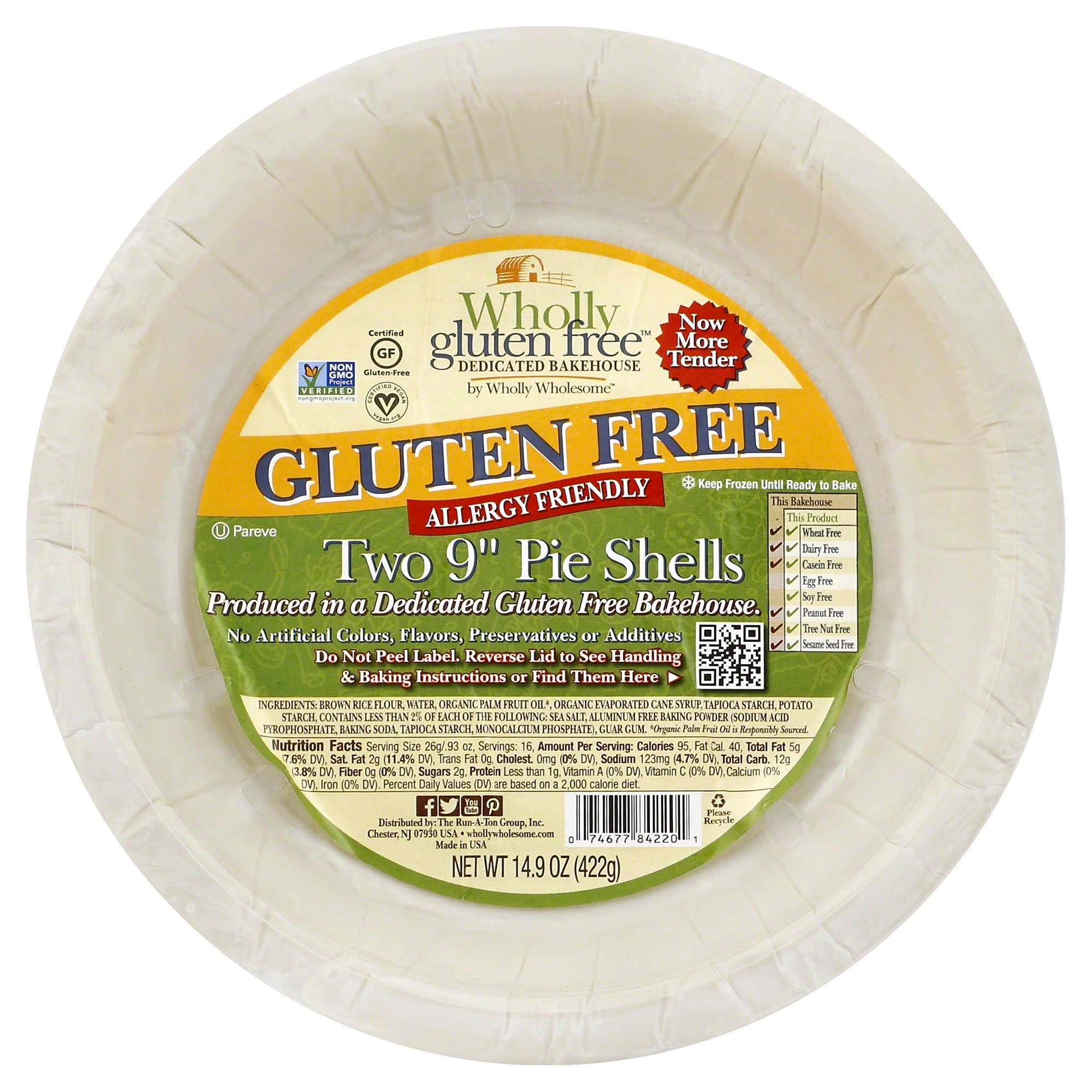 Wholly Pie Shells, Gluten Free, 9 Inch, Two - 14.9 oz