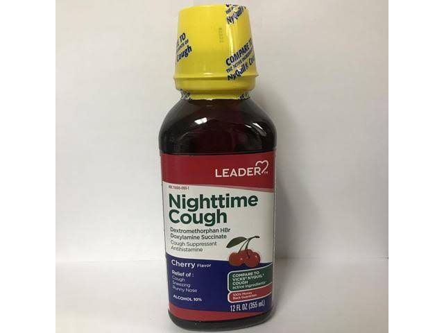 Leader Nighttime Cough Liquid Suppresant - Cherry, 12oz
