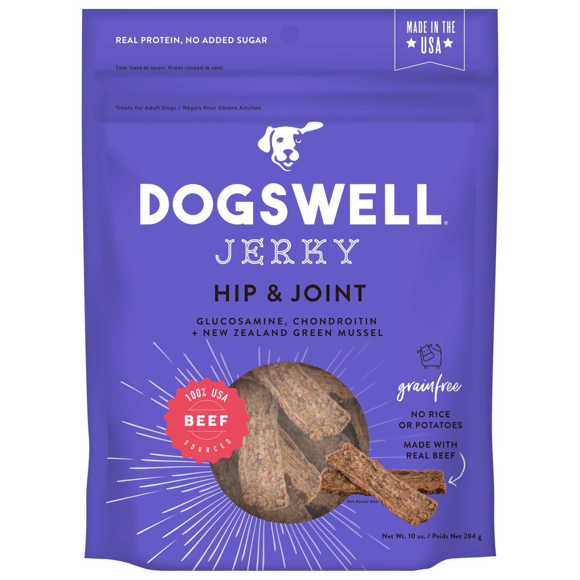 Dogswell Jerky Hip & Joint Dog Treats - Beef - 10 oz