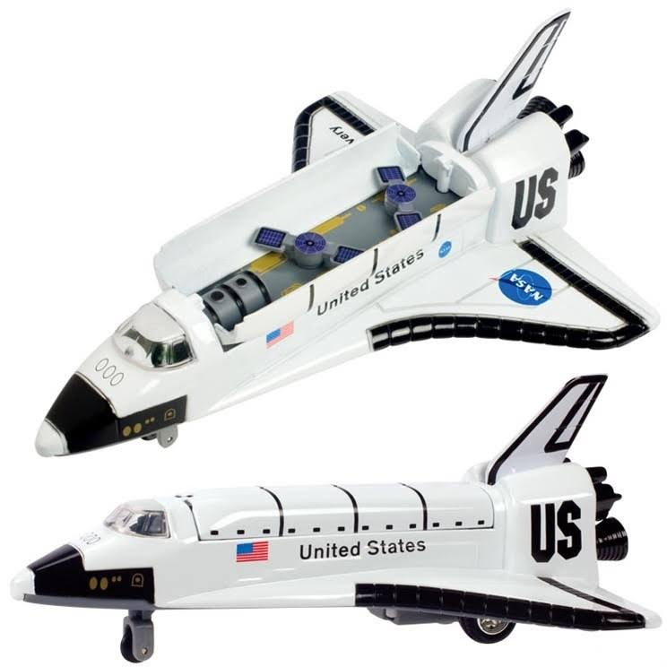 Die Cast and Plastic Space Shuttle Pullback Toy - 8""