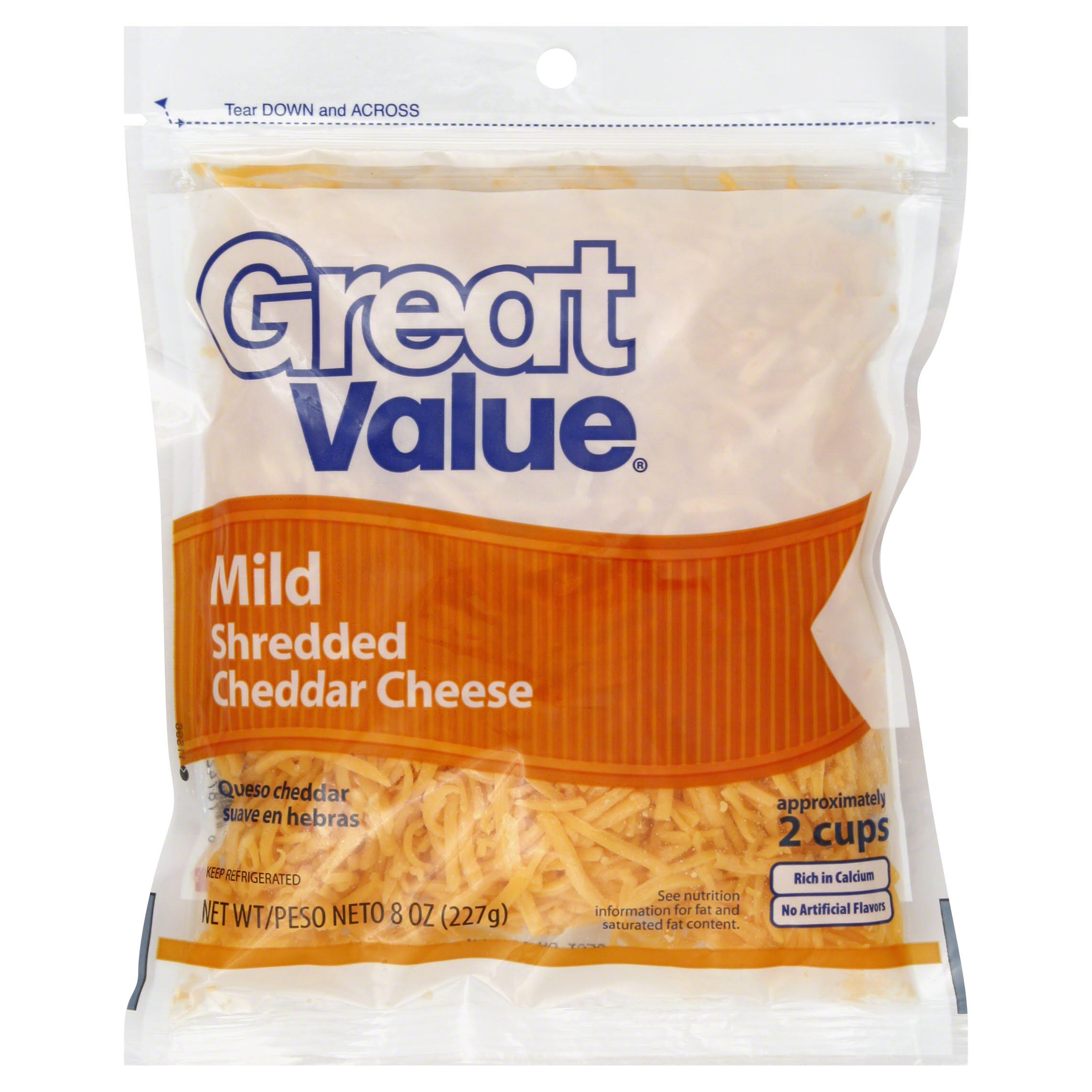 Great Value Shredded Cheese, Mild Cheddar - 8 oz