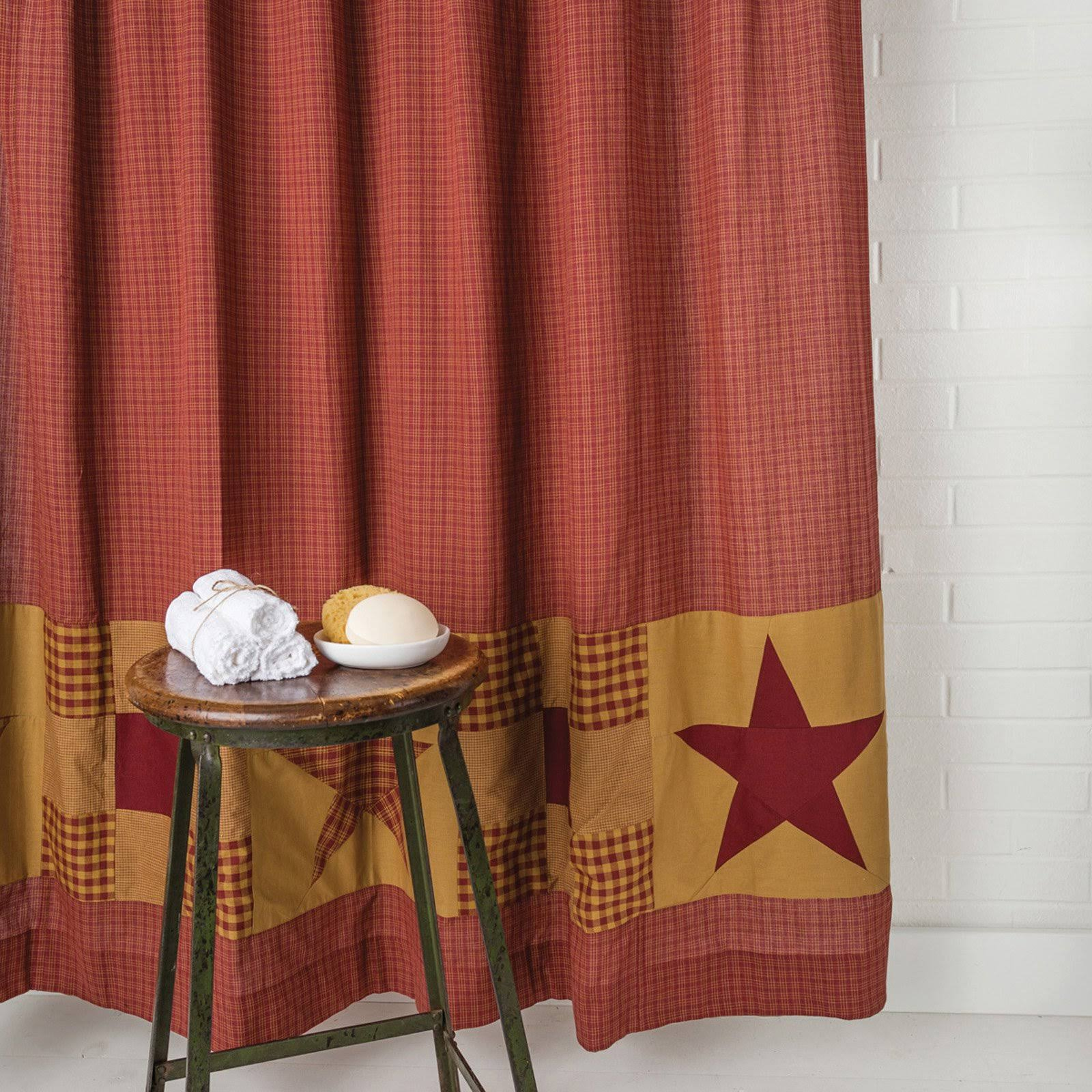 Ninepatch Star Shower Curtain w/ Patchwork Borders