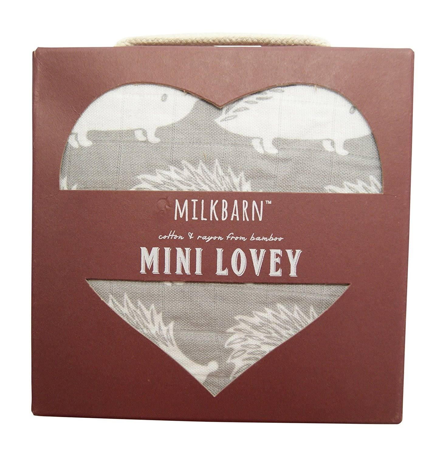 "Milkbarn Mini Lovey Baby Blanket - Grey Hedgehog, 18"" x 18"""