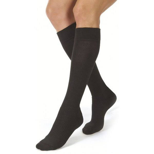 Jobst ActiveWear Athletic Knee High Support Socks - 15-20 mmHg, Cool Black, Small