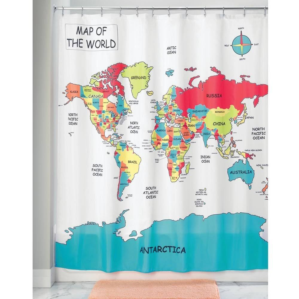 "InterDesign Multicolored World Map Shower Curtain - 72"" x 72"""