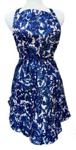 Two Lumps of Sugar Ruffle My Apron Navy Floral